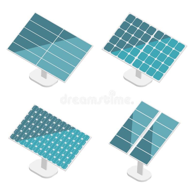 Los paneles solares azules fijados Isométrico plano Energía alternativa moderna del verde de Eco stock de ilustración
