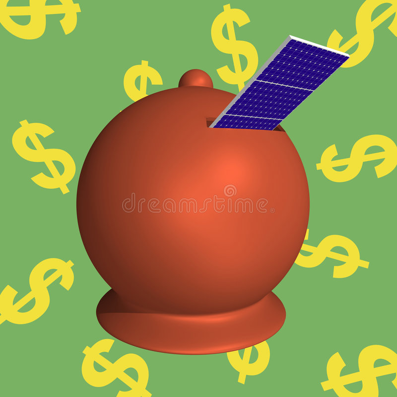 Los Paneles Solares De Moneybox Foto de archivo libre de regalías