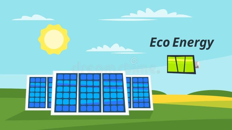 Los paneles solares en el prado stock de ilustración