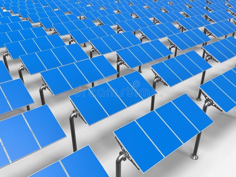 Los paneles solares en fila ilustración del vector