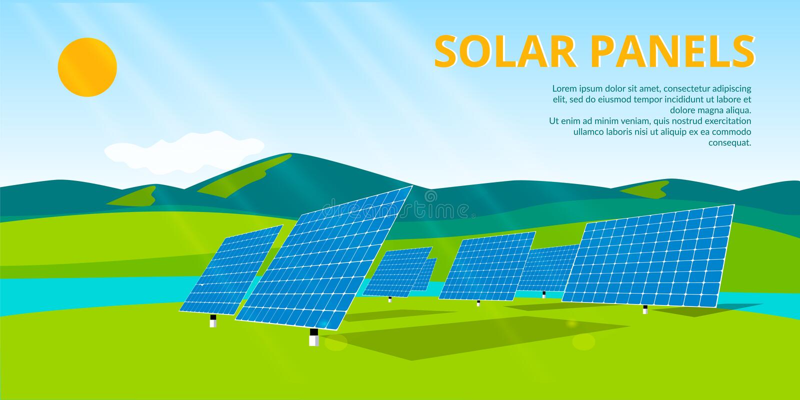 Los paneles solares en una azotea stock de ilustración
