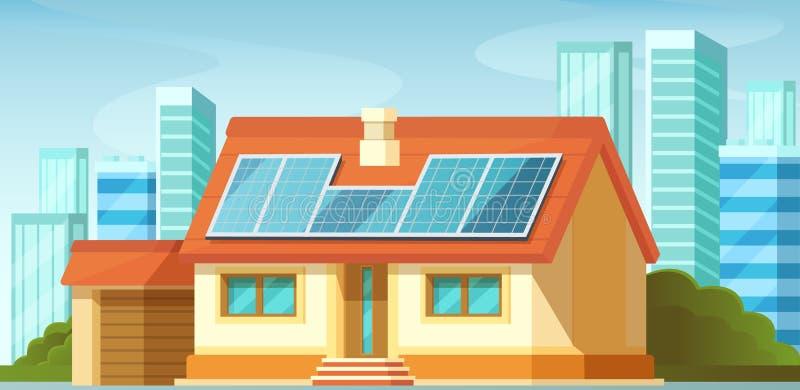 Los paneles solares, energía alternativa, en el tejado de la casa privada libre illustration
