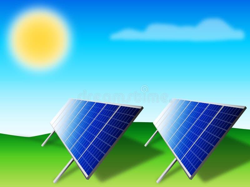 Los paneles solares - fotovoltaicos   ilustración del vector