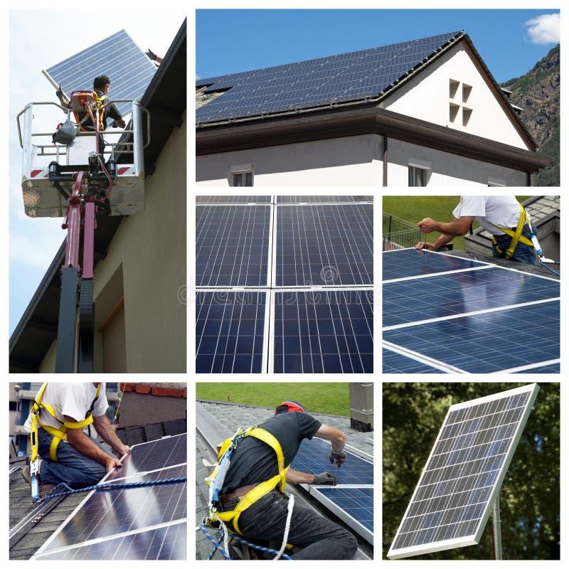 Los paneles solares que instalan el collage imagen de archivo libre de regalías