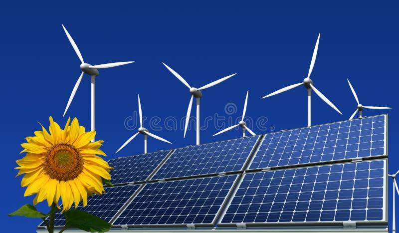 Los paneles solares, turbinas de viento y girasol fotografía de archivo