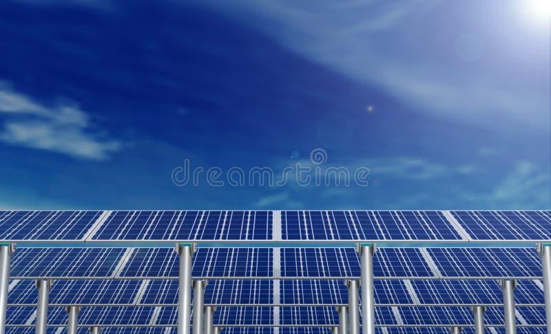 Los paneles solares y el cielo azul con las nubes y el sol señalan por medio de luces foto de archivo