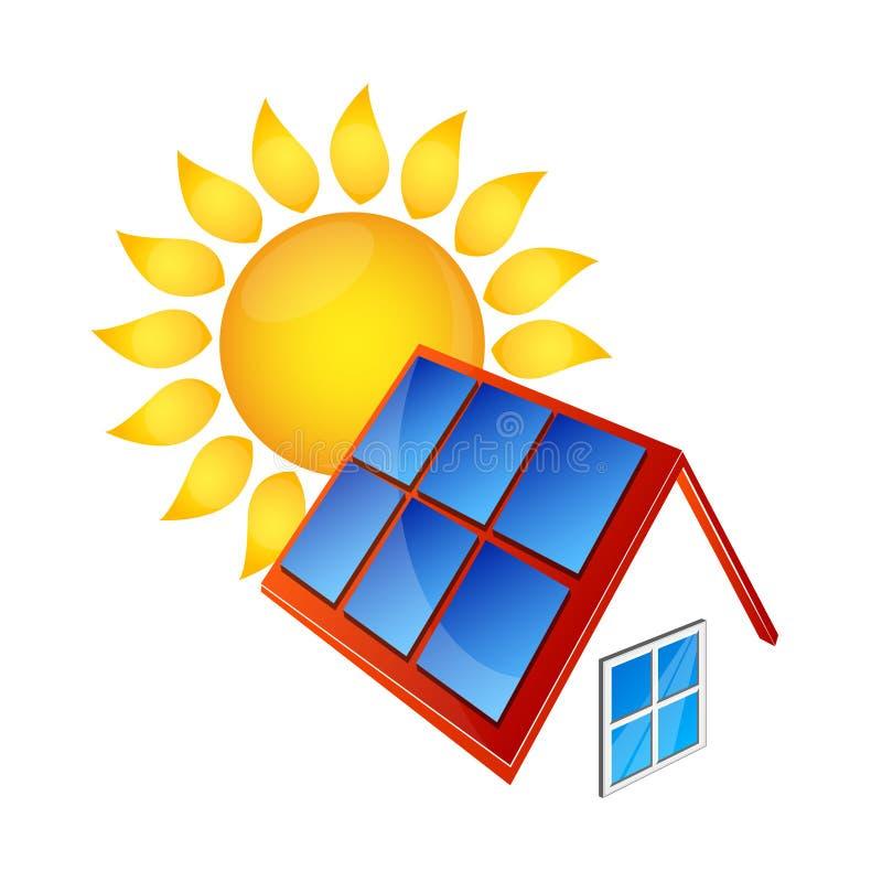 Los paneles solares y Sun ilustración del vector