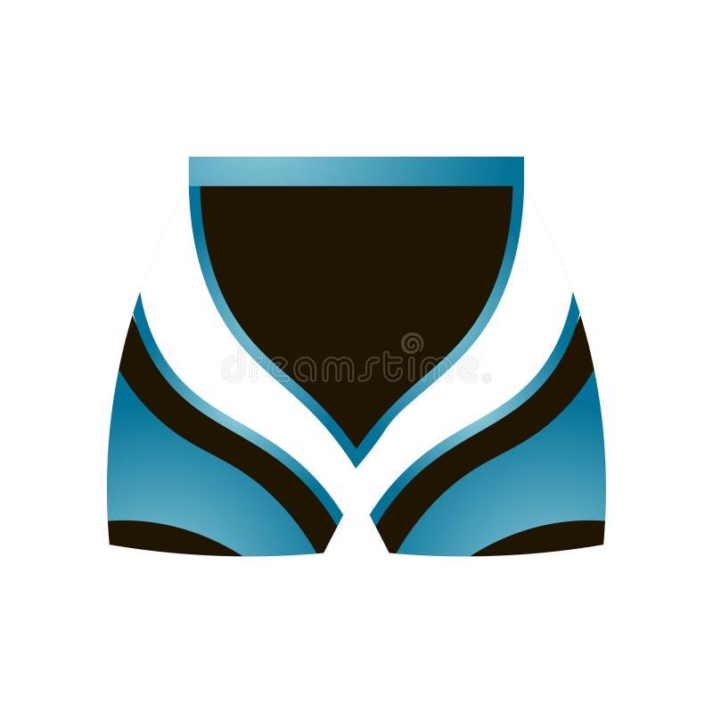 Los pantalones cortos termales del deporte azul de la mujer con las líneas blancas diseñan ilustración del vector
