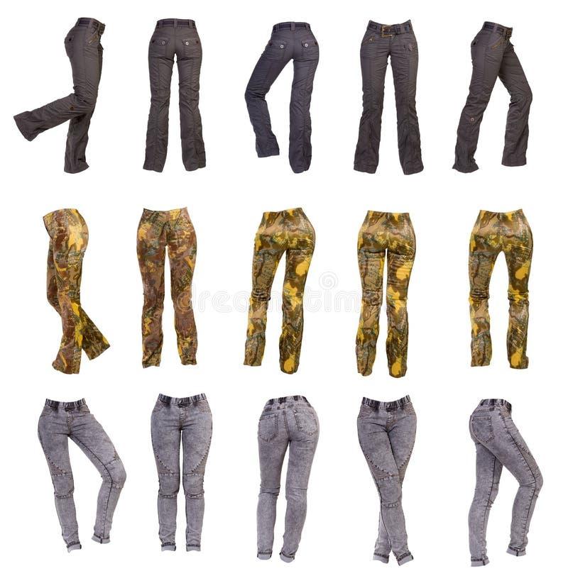 Los pantalones de las mujeres elegantes, collage foto de archivo