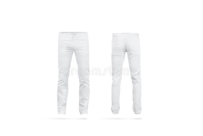 Los pantalones para hombre blancos en blanco imitan para arriba, aislado imagen de archivo libre de regalías