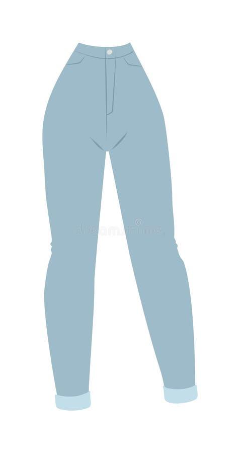 Los Pantalones Planos De La Tela Casual Del Estilo De La Ropa Del Encanto De Los Vaqueros De Las Mujeres Azules Del Dril De Algod Ilustracion Del Vector Ilustracion De Vaqueros