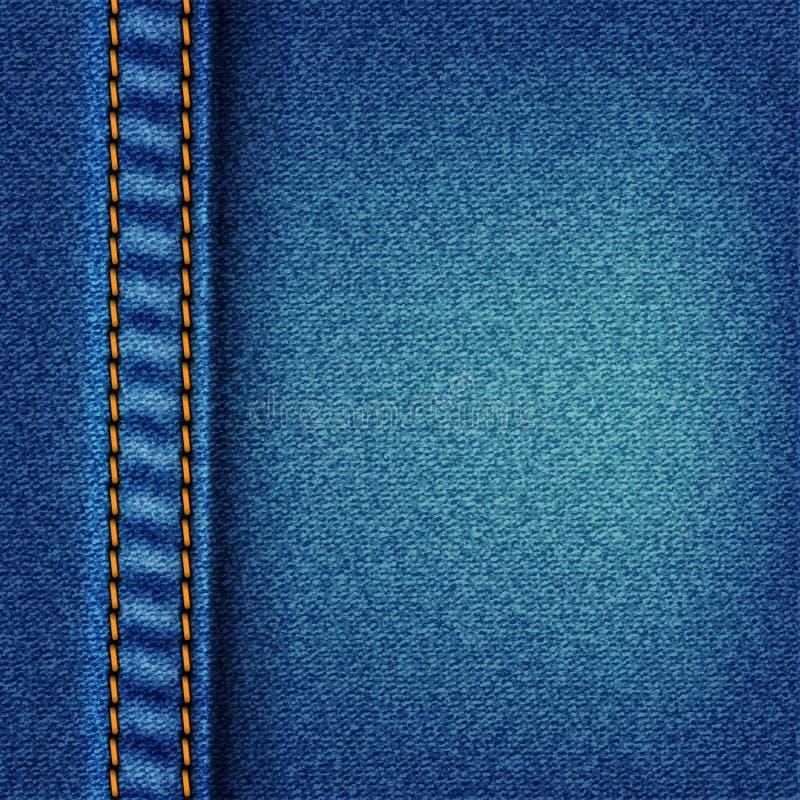 Los pantalones vaqueros texture con la puntada ilustración del vector