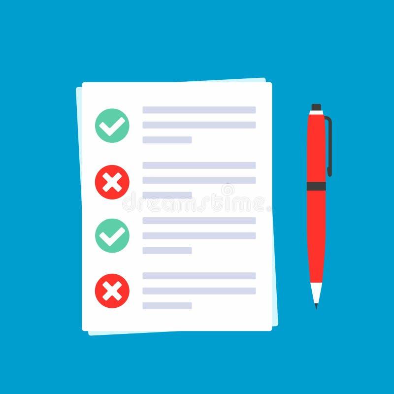 Los papeles con la forma de demanda en ella, hojas de papel, marcas de verificación hacen tictac AUTORIZACIÓN y cruzan X en el cí ilustración del vector