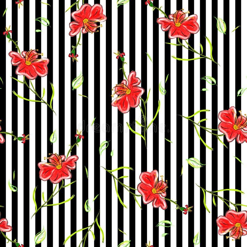 Los papeles pintados inconsútiles con verano florecen, alinean el fondo illus foto de archivo