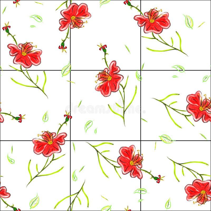 Los papeles pintados inconsútiles con verano florecen, las líneas a cuadros backgro fotos de archivo