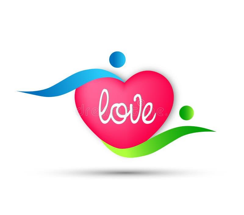 Los pares cariñosos en forma de corazón aman el icono del logotipo en el fondo blanco stock de ilustración