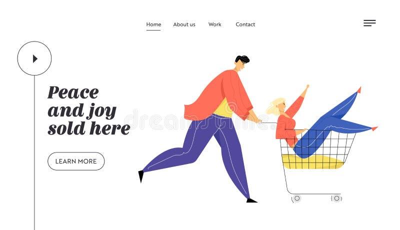Los pares de adolescentes enga?an en carretilla del montar a caballo del supermercado El hombre feliz que empuja el carro de la c ilustración del vector