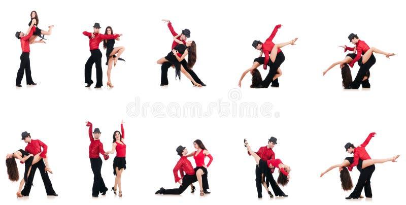 Los pares de bailarines aislados en el blanco foto de archivo