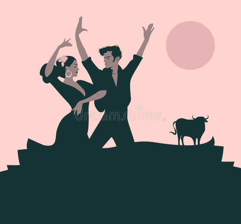 Los pares de los bailarines del flamenco que bailan a españoles típicos bailan libre illustration