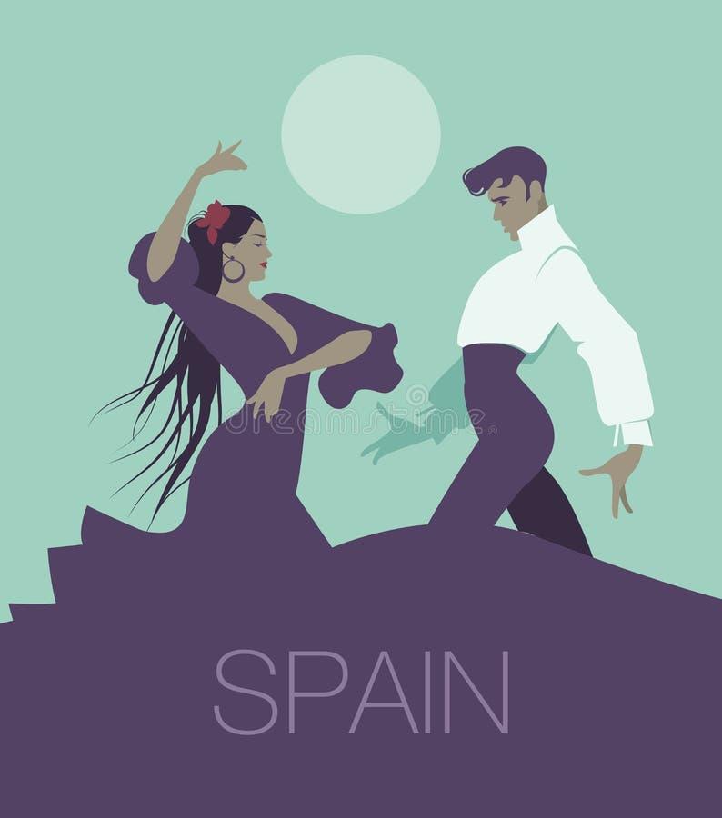 Los pares de los bailarines del flamenco que bailan a españoles típicos bailan ilustración del vector