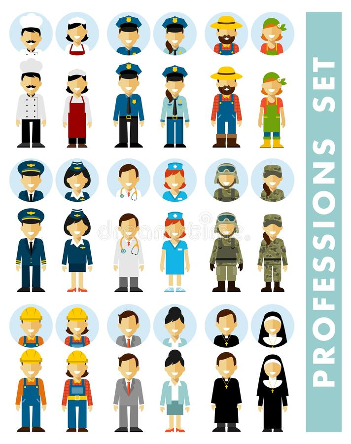 Los pares de los caracteres del empleo de la gente fijaron en estilo plano aislado en el fondo blanco stock de ilustración