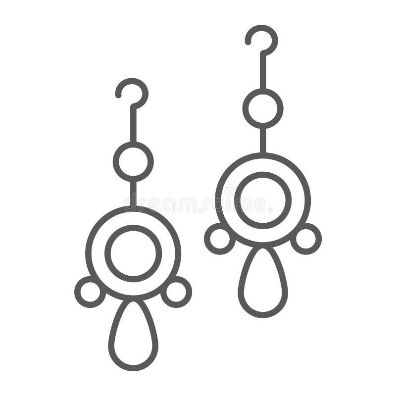 Los pares de línea fina icono, joyería y accesorio de los pendientes, los pendientes redondeados firman, los gráficos de vector,  stock de ilustración