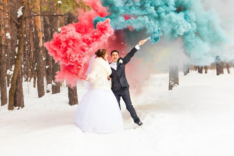 Los pares de la boda con color fuman en el parque del invierno imagen de archivo