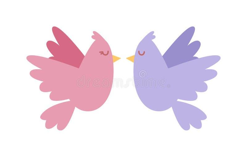 Los pares de la historieta de palomas en icono del amor vector el ejemplo ilustración del vector