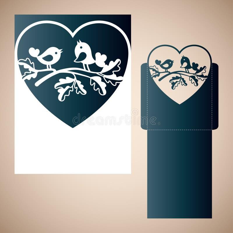 Los pares de palomas en un roble ramifican dentro del corazón ilustración del vector