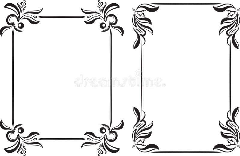 Los pares de vintage ennegrecen el marco con el lugar vacío para su texto u ot stock de ilustración