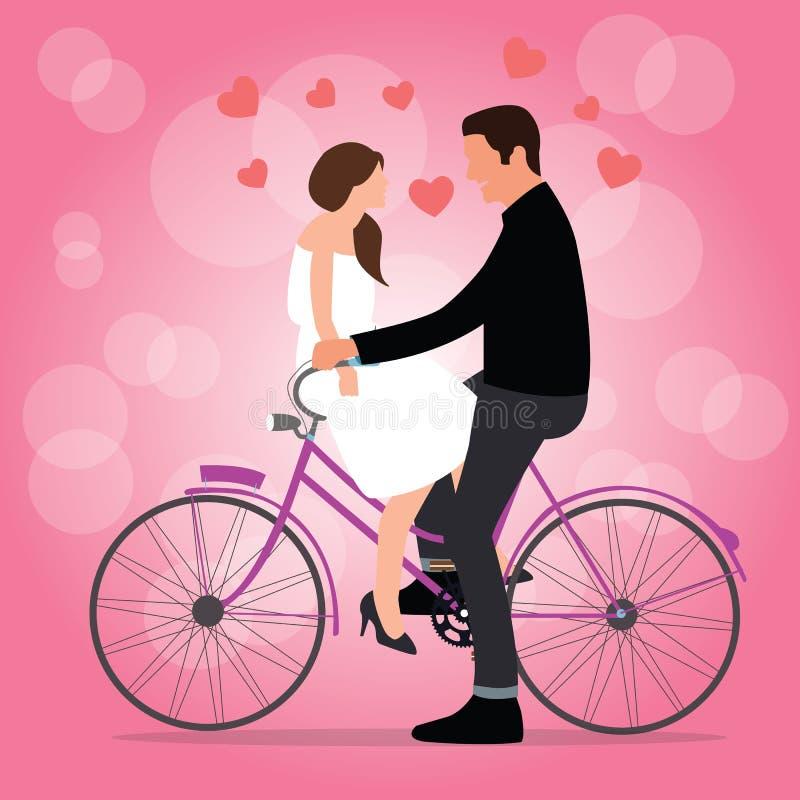 Los pares en la bicicleta caen en mujer romántica del hombre del momento del fondo del rosa del amor ilustración del vector