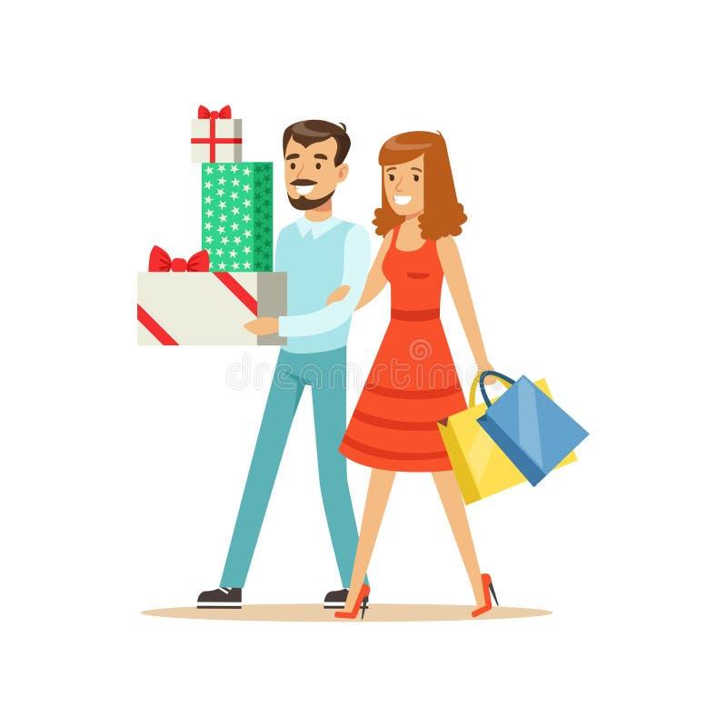 Los pares felices de la familia que caminan con el carácter colorido de los panieres y de las cajas de regalo vector el ejemplo stock de ilustración