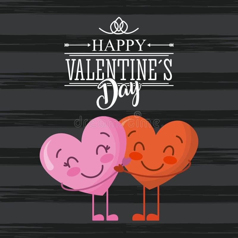 Los pares felices de la tarjeta del día de tarjetas del día de San Valentín aman los corazones que abrazan el fondo oscuro ilustración del vector