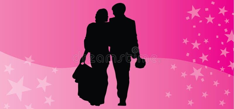 Los pares felices del vector del día de tarjetas del día de San Valentín siluetean el fondo rosado libre illustration
