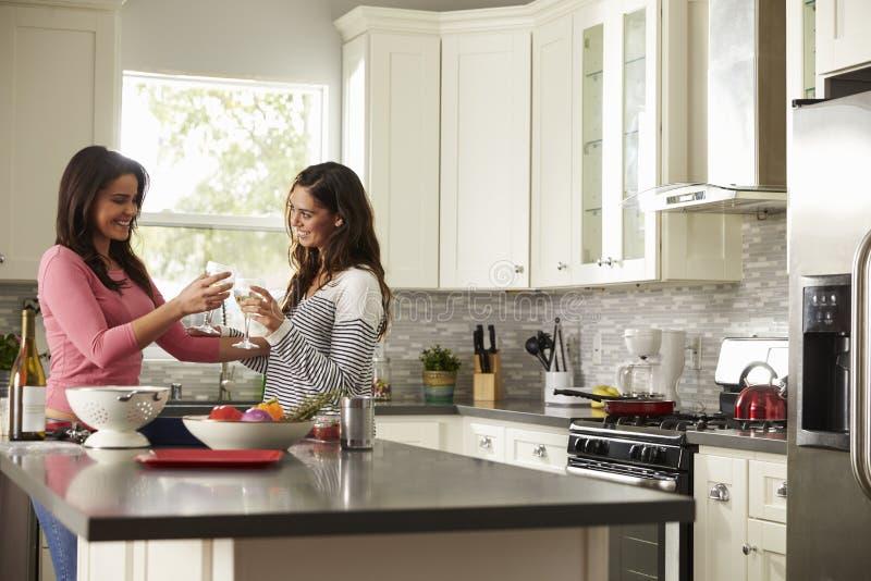 Los pares gay femeninos hacen una tostada mientras que preparan una comida fotos de archivo