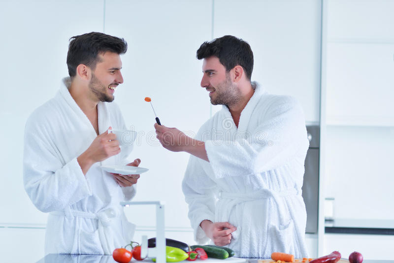 Los pares gay jovenes desayunan en la cocina en día soleado fotografía de archivo libre de regalías