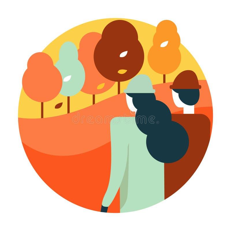 Los pares gozan del parque de oro del otoño stock de ilustración