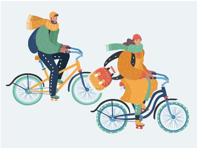 Los pares jovenes están montando las bicis en tiempo frío libre illustration