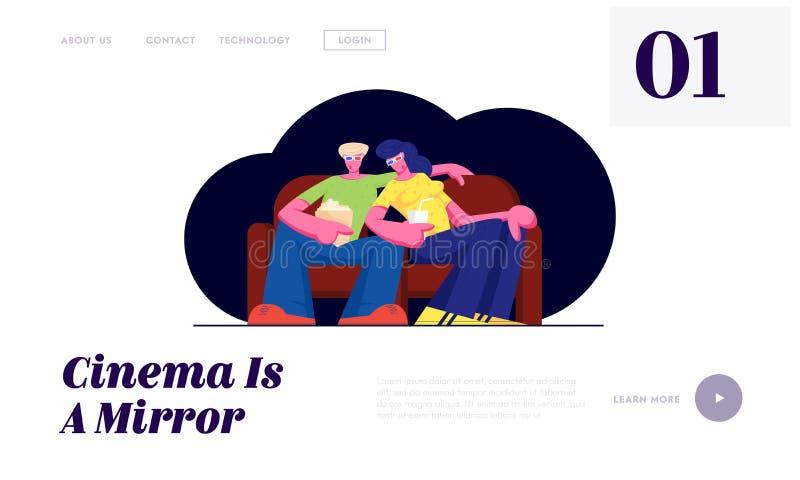 Los pares jovenes miran película en cine con palomitas y bebidas en los vidrios 3d que se sientan en el sofá el fin de semana Amo libre illustration