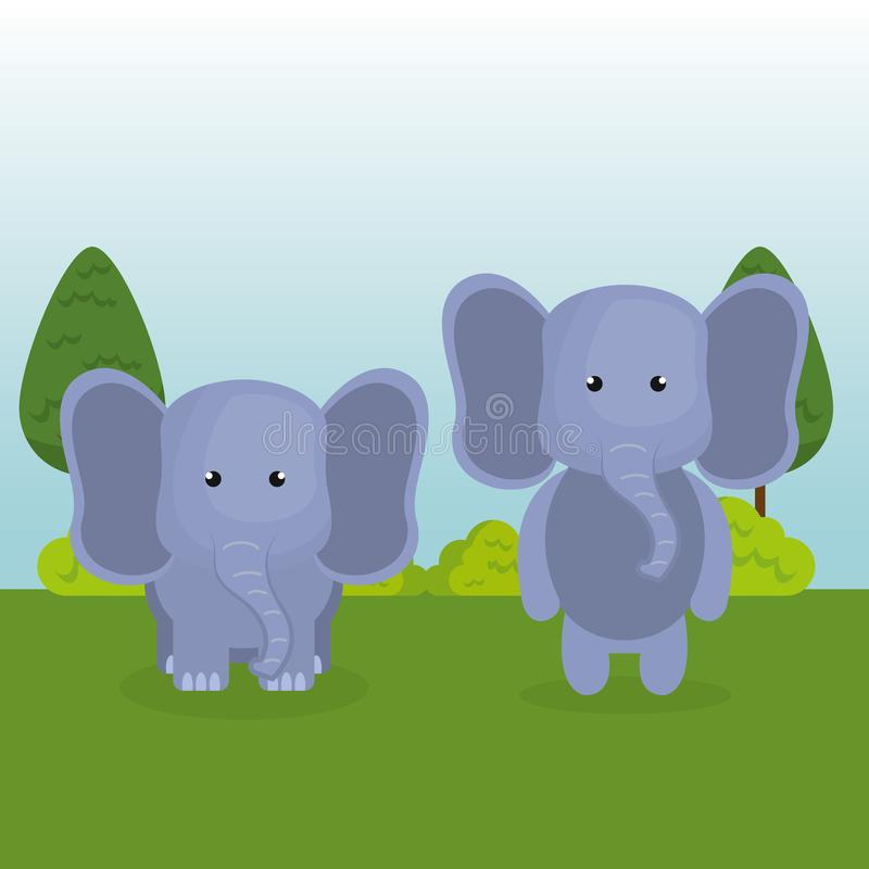 Los pares lindos de los elefantes en el campo ajardinan el carácter ilustración del vector