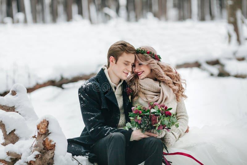 Los pares lindos en amor con un ramo se están sentando en el fondo de la conexión de las ilustraciones del bosque del invierno imagen de archivo libre de regalías
