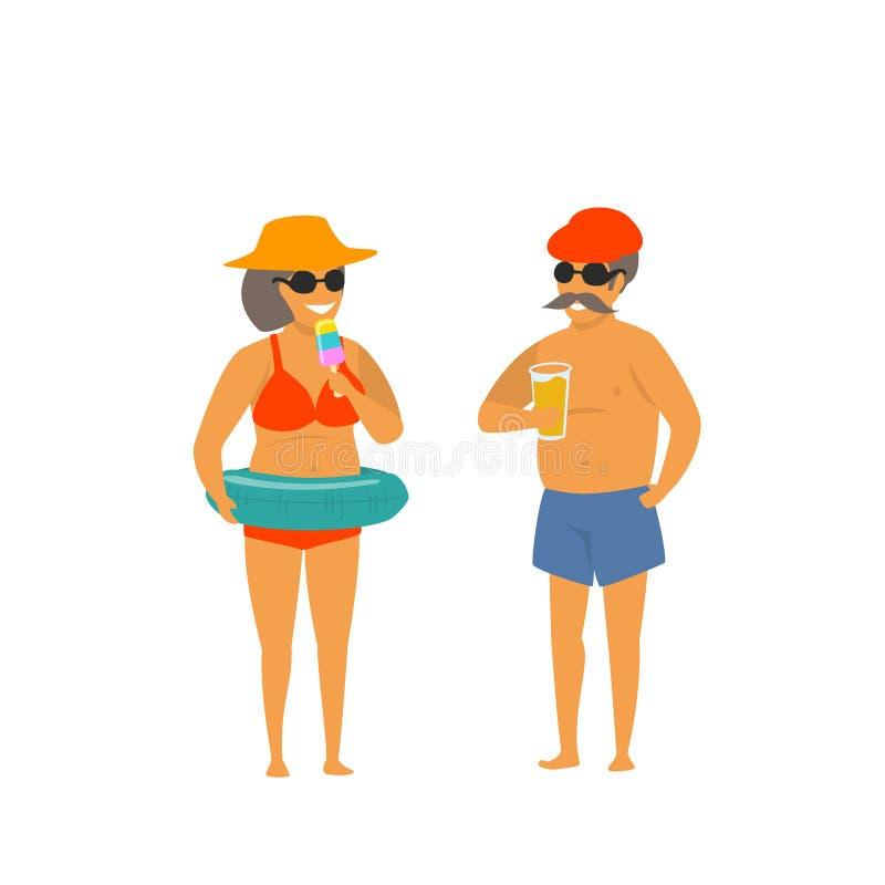 Los pares maduros de la diversión de la historieta el vacaciones aislaron vector stock de ilustración