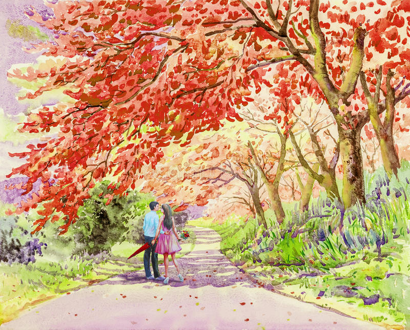 Los pares masculinos que caminan en la calle por la mañana cultivan un huerto imágenes de archivo libres de regalías