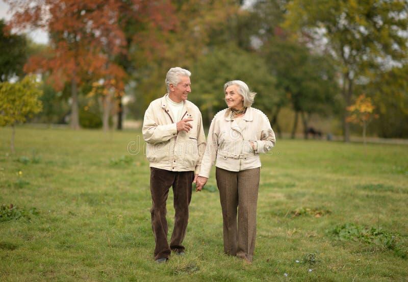 Los pares mayores felices que caminan en el otoño parquean fotos de archivo libres de regalías