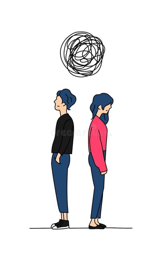 Los pares piensan el ejemplo complicado del vector del dibujo del color del garabato del problema de la relación el hombre y la m stock de ilustración