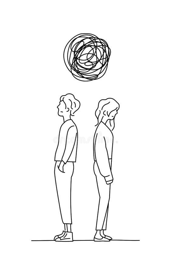 Los pares piensan el ejemplo complicado del vector del dibujo del garabato del problema de la relaci?n el hombre y la muchacha re ilustración del vector