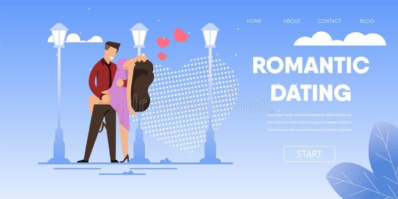 Los pares románticos bailan la calle al aire libre en la noche stock de ilustración