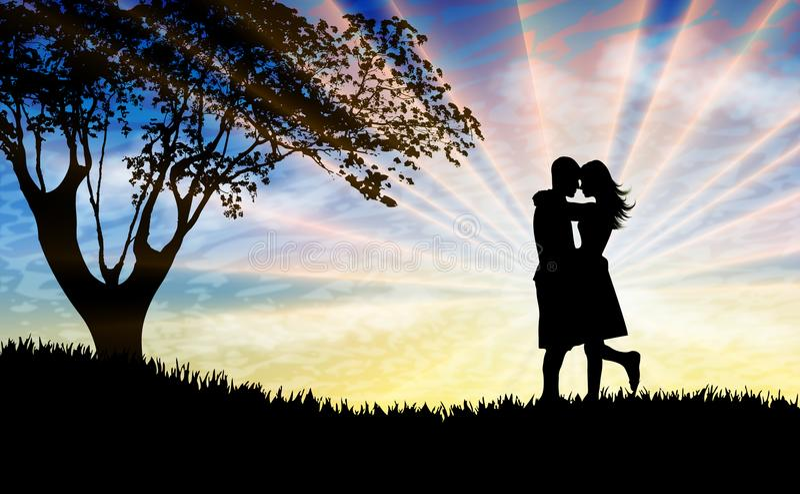 Los pares siluetean besarse en la naturaleza hermosa de la puesta del sol stock de ilustración