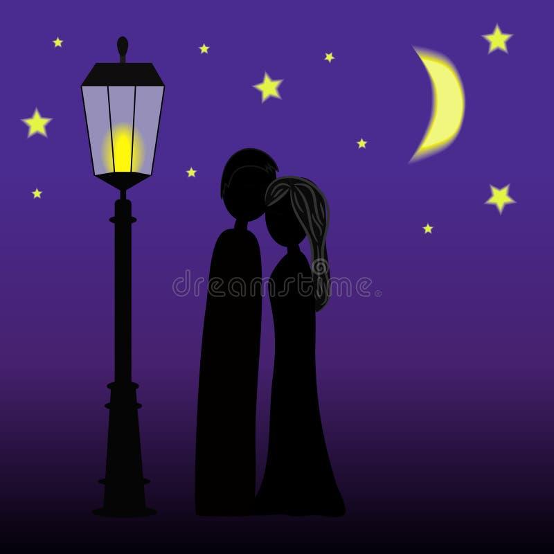Los pares siluetean en la noche ilustración del vector