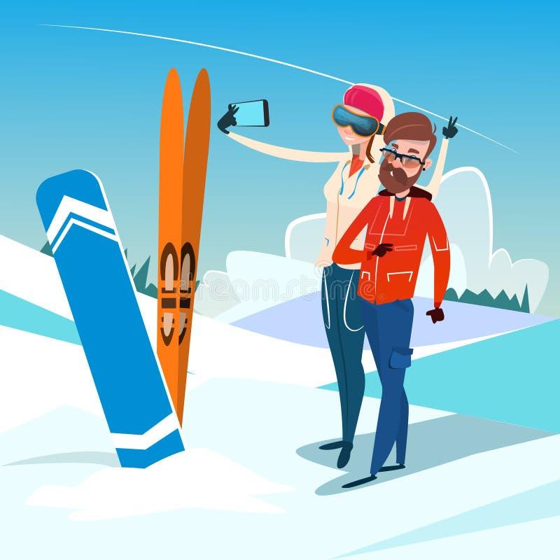 Los pares sirven y mujer con vacaciones del deporte de la actividad del invierno de Ski Snowboard Take Selfie Photo ilustración del vector